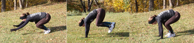 Att göra kaninhopp tränar koordination och belastar skelettet i armarna.